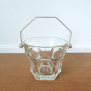 Heavy glass ice bucket with angled metal handle, made in Italy