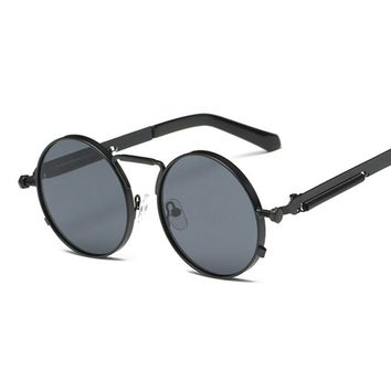 Mens Round Gothic Steampunk Sunglasses Women Coating Mirrored Circle Vintage Punk Sun Glasses Male Female Oculos