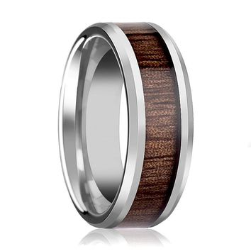 Tungsten Wood Ring - Redwood Inlay - Tungsten Wedding Band - Polished Finish - 4mm - 6mm - 7mm - 8mm - 10mm - 12mm - Tungsten Wedding Ring