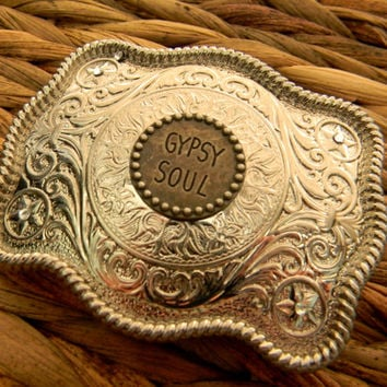 Gypsy Soul Belt Buckle, Gypsy, Boho Free Spirit Buckle, Gypsy Cowgirl, Bohemian Belt, Silver Mens Womens Rhinestone Gypsy Boho Belt Buckle