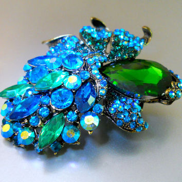 Large Floral Blue Green Brooch, Teal ABs Rhinestones, Vintage