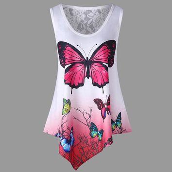 Fashion Womens Lace Asymmetrical Butterfly Ombre Color Print Vest Tank Tops