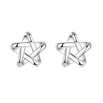 925 Silver Stars Tiny Studs Earrings +Gift Box