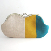 Sunglasses Case/ Frame Clutch Purse - linen patchwork- teal and mustard yellow
