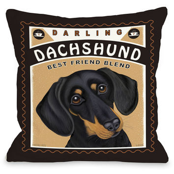 """Darling Dachshund Blend"" Indoor Throw Pillow by Retro Pets, 16""x16"""