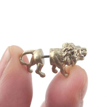 3D Miniature Lion Shaped Front and Back Earrings in Gold