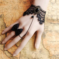 Gothic Victorian Lolita BLACK LACE bracelet w chain n BOW butterfly bead ring Costume Party Black Friday / Cyber Monday weekend