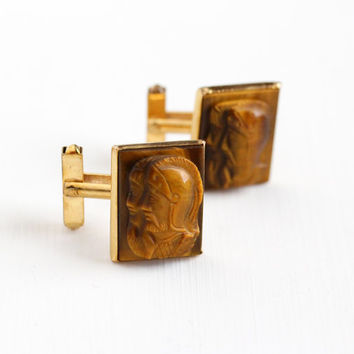 Vintage 12k Yellow Gold Filled Roman Soldier Tiger's Eye Cameo Cufflinks - 1940s Carved Brown Gem Warrior Men's Swank Cuff Link Jewelry