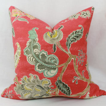 "Red floral decorative throw pillow cover. Waverly Asian Myth twill decorative pillow cover. 20"" x 20"" pillow."