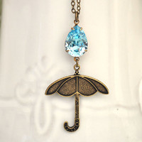 Big RAIN DROP On My Tiny UMBRELLA antique brass necklace with vintage Swarovski auqamarine pear shaped glass jewel