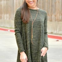 Right Where You Are Dress - Olive