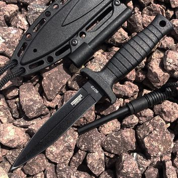 """7"""" Defender Xtreme Black Mini Hunting Knife Stainless Steel Blade with Fire Starter"""
