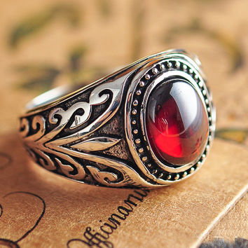 Real 925 Sterling Silver Vintage Rings With Black Onxy Red Garnet Natural Stone Ruby Jewelry For Men Guy Birthday Gift