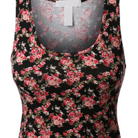 LE3NO Womens Fitted Floral Print Sleeveless Crop Top with Stretch (CLEARANCE)