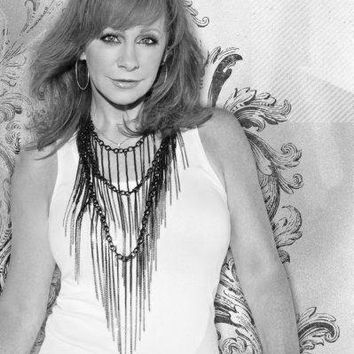 Reba Mcentire poster Metal Sign Wall Art 8in x 12in Black and White