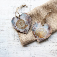 Set of 2 heart ornaments sea nautical off white brown blue rustic sea ocean shells