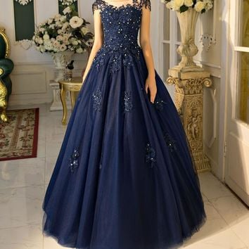 Navy Blue Ball Gown Prom Dresses 2017 Real Photos Cap Sleeves Floor Length Beaded Lace Tulle Prom Gowns Corset vestido de festa