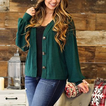 * Tied To This One Waffle Knit Button Down Top - Evergreen