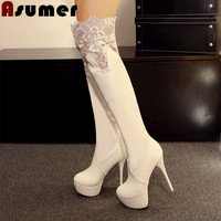 Women fashion boots platform shoes solid slip-on round toe lace thin heels pu over the knee high boots