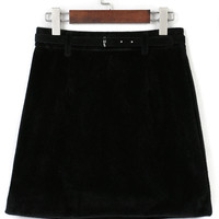 Black Belt High Waist Fluffy Suedette A-line Skirt