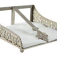 Silver Scrolled Napkin Holder