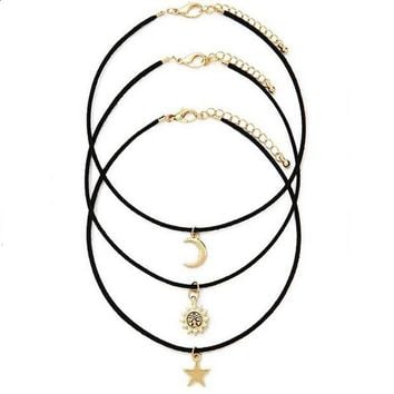ONETOW Day-First? 3 Pcs Sets Star Moon Sun Chokers Necklaces Pendants necklace