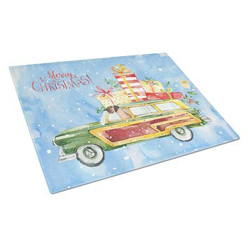 Merry Christmas Great Dane Glass Cutting Board Large CK2456LCB