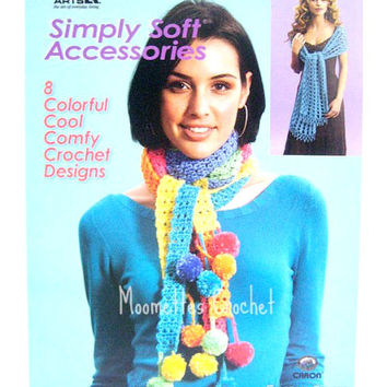 Crochet Pattern Book, Skinny Scarves, Wrap, Purse, Capelet, 8 Crochet Designs, Caron Simply Soft Accessories 4556, Crochet Patterns, Destash