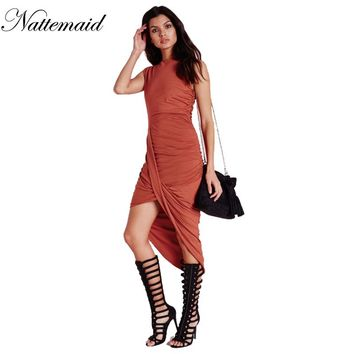 Brick-red Neck Pleated Wrap Midi Dress Women Fashion Solid Work Dress summer style