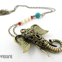 Long Elephant Necklace - Antique Bronze/ Gold Elephant Animal Necklace - Unique Elephant Pendant - Boho Bohemian Jewelry Gift for Her