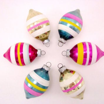 Striped Teardrop Vintage Glass Shiny Brite Christmas Holiday Ornaments