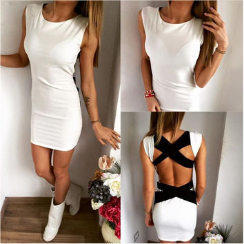 Sexy Club Dress 2017 Fashion Open Back Bandage Dress Evening Party Casual Women Mini Summer Fashion Clothing Vestidos Work Wears