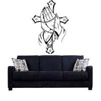 Praying Hands Pray Cross God Jesus Christ Blessing Wall Art Decal Stickers tr213