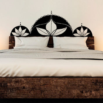 Vinyl Wall Decal Sticker Bedroom Bed Headboard Boho Bohemian Lotus Adversity New Age King, Queen, Full, Twin