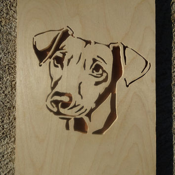 Wooden puppy portrait