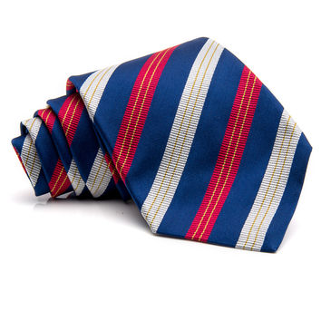 Kiton Navy with Red and Silver Stripe Tie