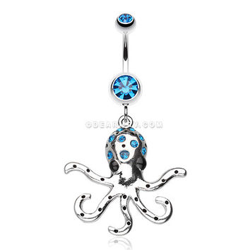 Octopus Sparkle Belly Ring (Capri Blue)