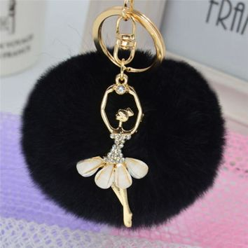 14 Colors 8cm Stylish Rhinestone Dance Girl Cute Blank Fluffy Ball Pom Pom Rabbit Fur Bunny Keychain To Locate Keys