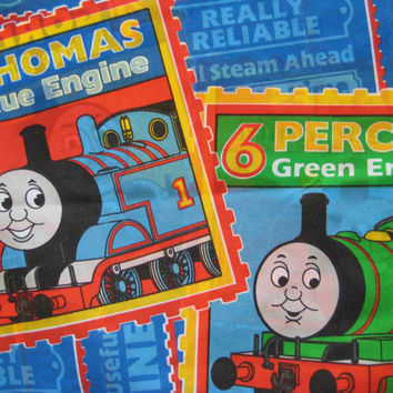 Thomas the Tank Engine Friends Train Bedding Pillow Case Percy Gordon James Standard Size Craft Fabric Clean Used
