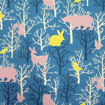 Japanese Fabric - Forest Creatures - blue