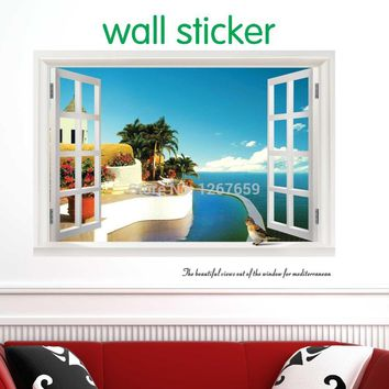 2017 new fake window wallpaper ,decorative wall stickers,large home decoration,Summer style,free shipping