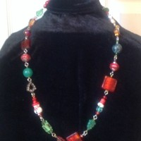 Old Time Christmas Lampwork Glass Sterling Necklace II