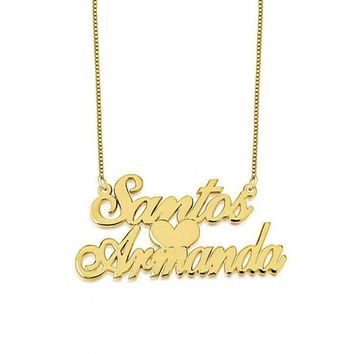 Two Names Couples Name Necklace