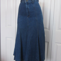 Vintage Long Flared Denim Skirt, Denim Maxi Skirt, Long Jean Skirt USA, Gored Skirt Flare Bottom Womens Size 4 Boho Festival Western