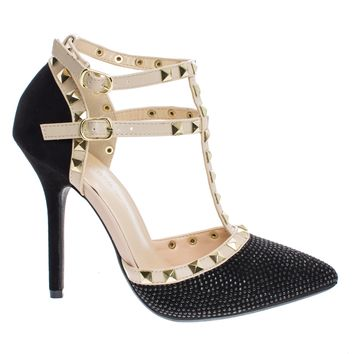 Adora64C Black By Wild Diva, Metal Studded Pointed Toe Pump w/ Open Vamp D'Orsay Shoes