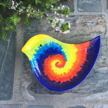 Tie Dyed Bird Dish - Spoon Rest - Ring Holder - Trinket Dish - Soap Dish