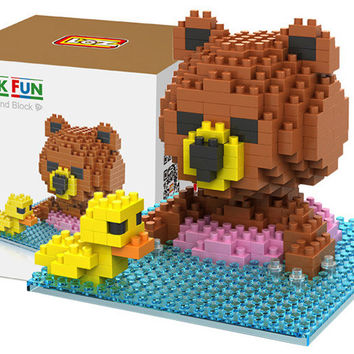 Ted Swimming Building Blocks Child Educational Brown Bear Toy 280 Pcs