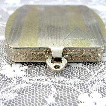 Early Powder Compact Art Deco Silver And Gold Tone Metal 1930s 1940s Collectible Gift  Item 2108