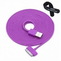 Colorful 30pin USB Data Sync and Charge Cable Compatible with Iphone 4/4s, Iphone 3g/3gs, Ipod (Purple ,10ft Long)
