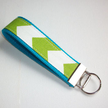 Key FOB / KeyChain/ key chain / Wristlet  - Lime green Chevron - on blue - Zig Zag - zigzag